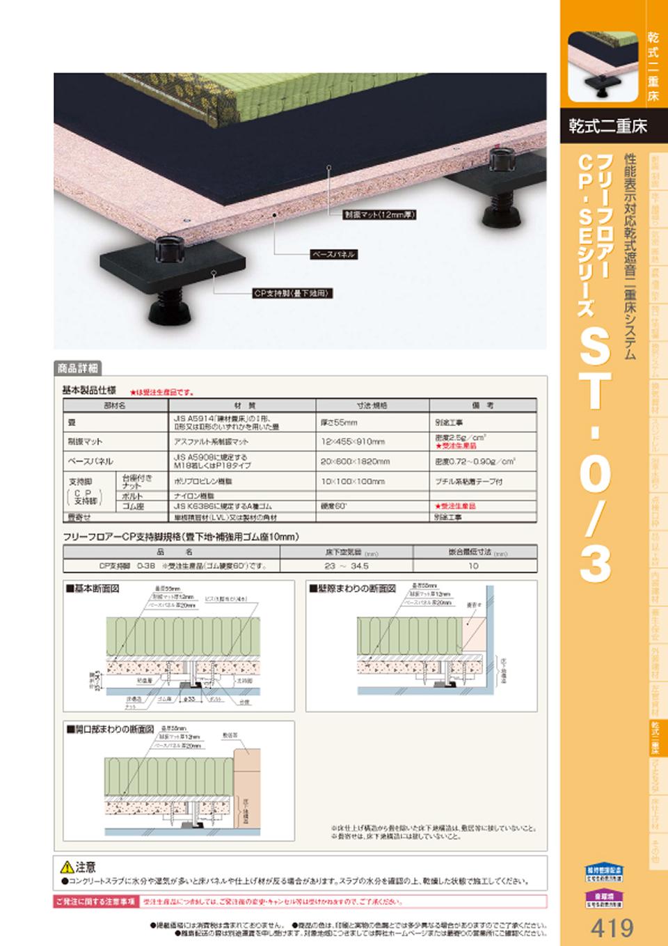 乾式二重床 性能表示対応乾式遮音二重床システム フリーフロアー CP・SEシリーズST-0/3