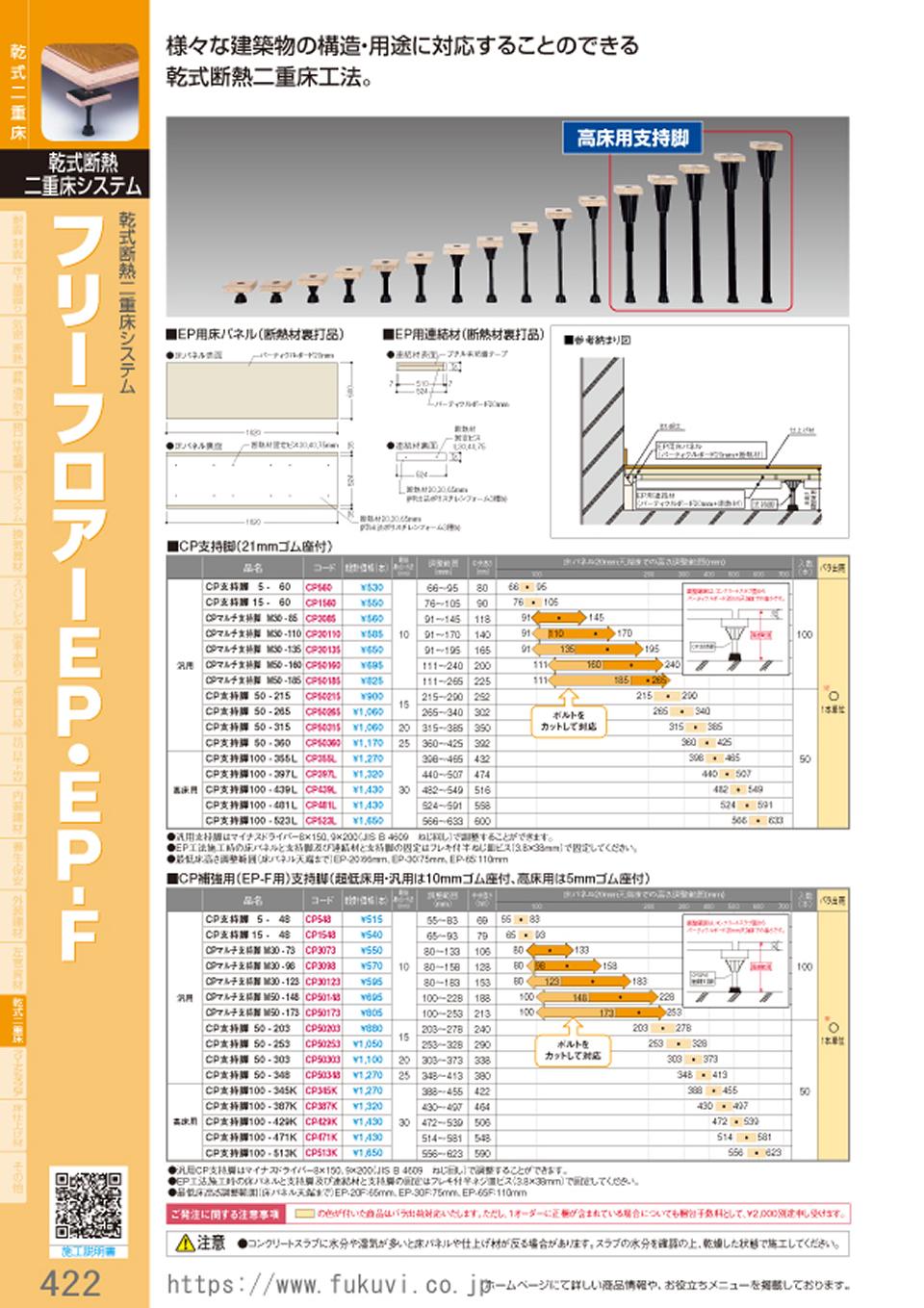 乾式二重床システム フリーフロアーEP・EP-F