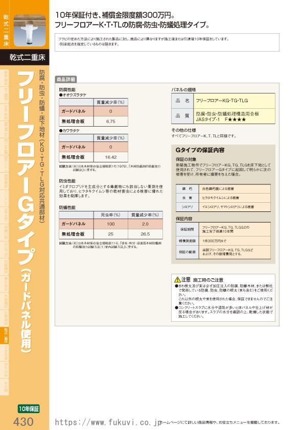 乾式二重床 防腐・防虫・防蟻・床下地材(KG・TG・TLG対応共通部材)